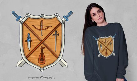 Diseño de camiseta con escudo medieval.