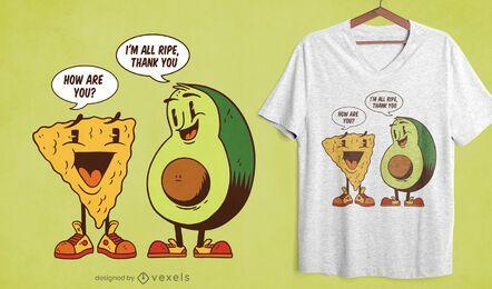 Design de camiseta com citação de abacate nacho