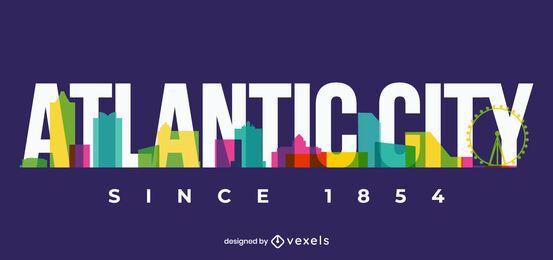 Desenho do horizonte da cidade atlântica