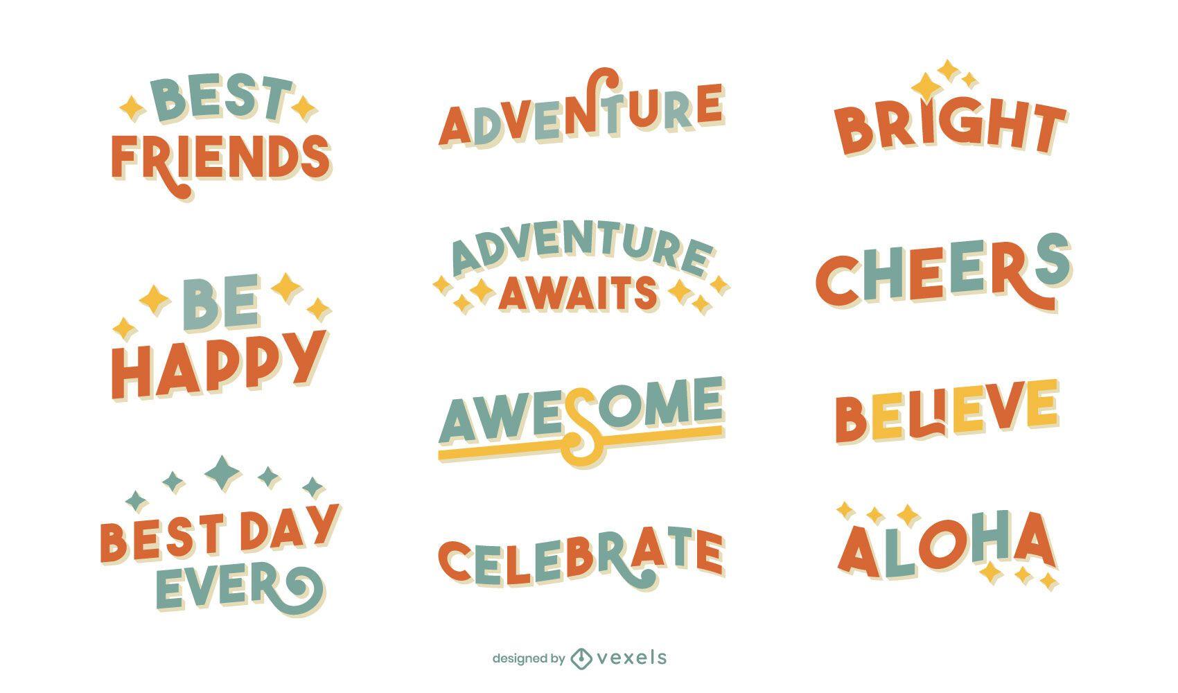 Happy miscellaneous lettering set