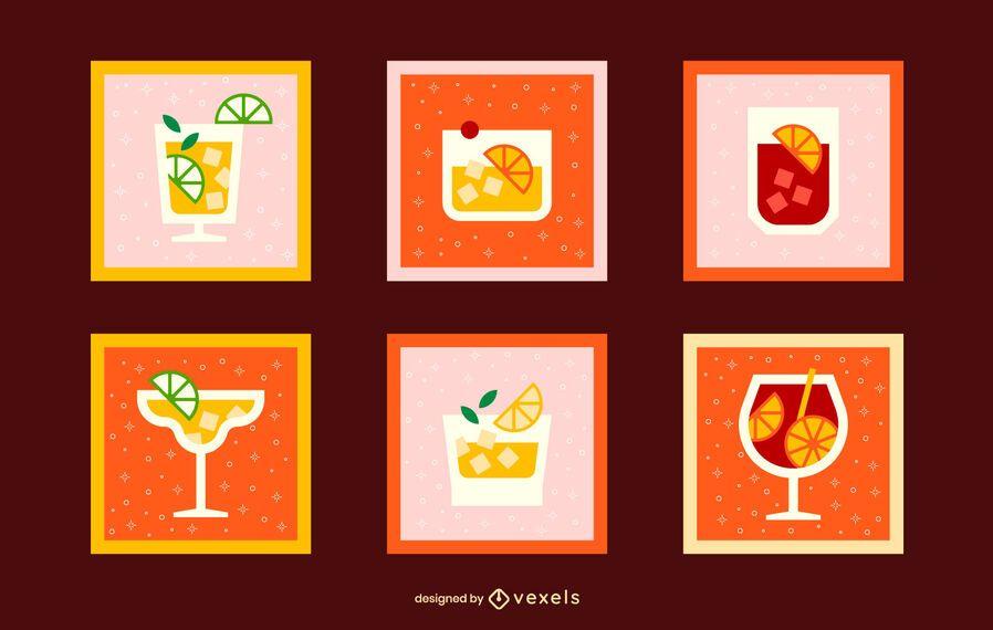 Cocktail set flat