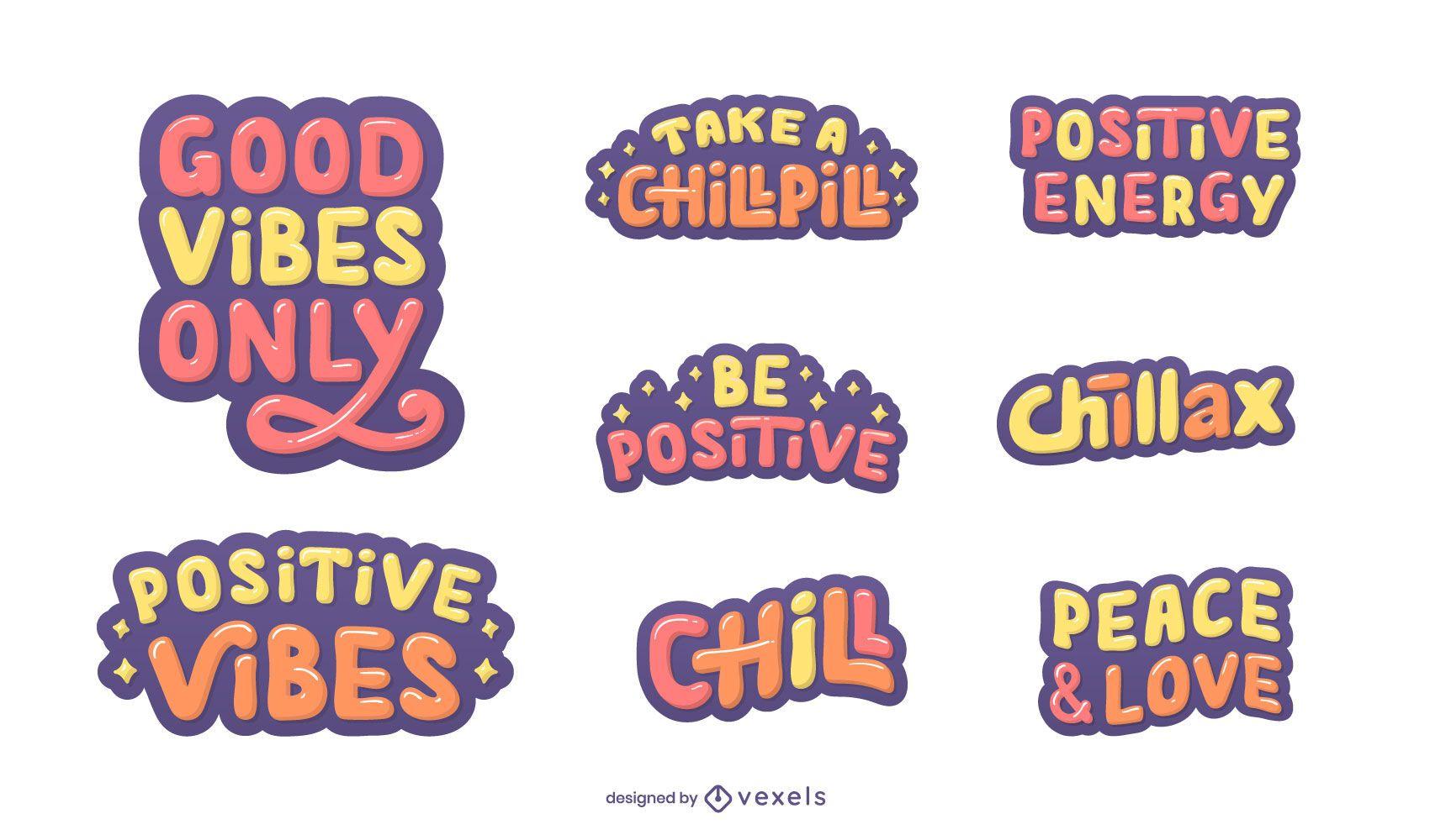 Good vibes lettering set
