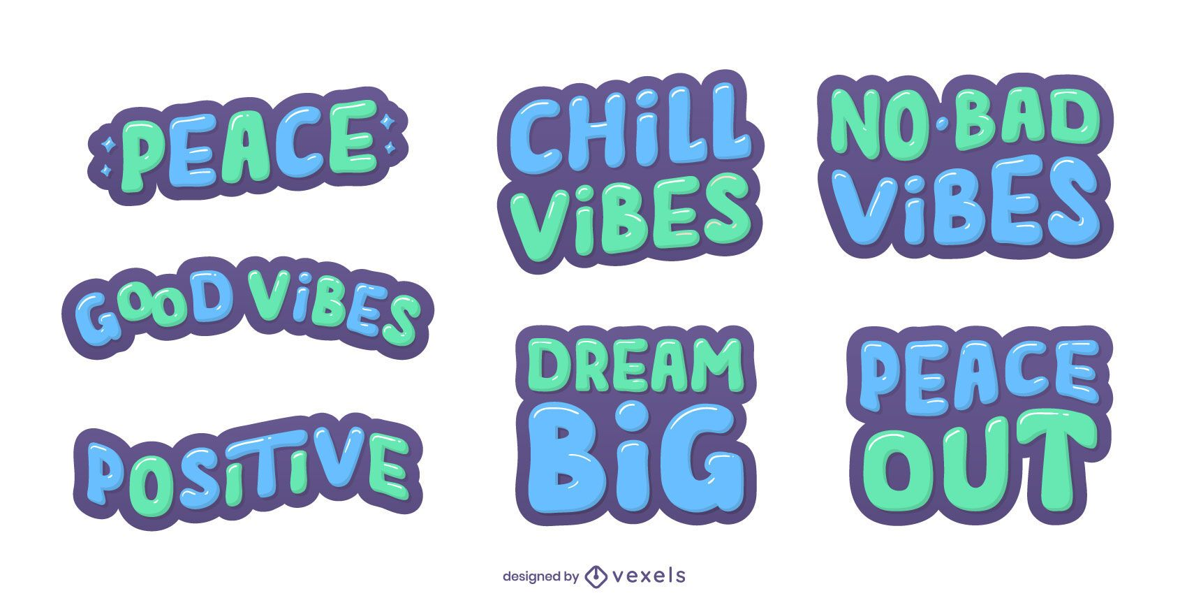 Peaceful lettering set