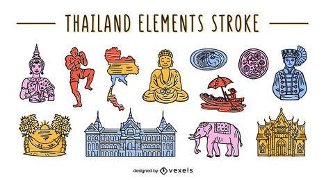 Conjunto de elementos tailandeses trazo de color
