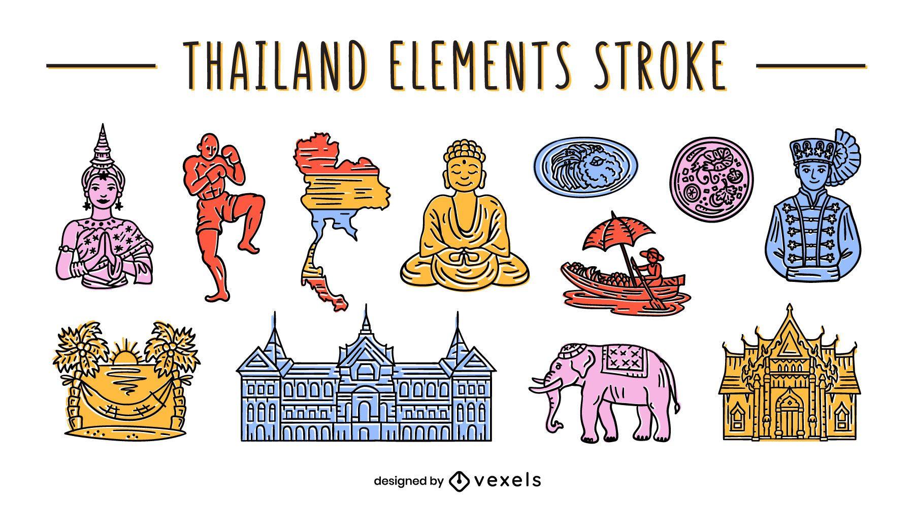 Thai element set color-stroke