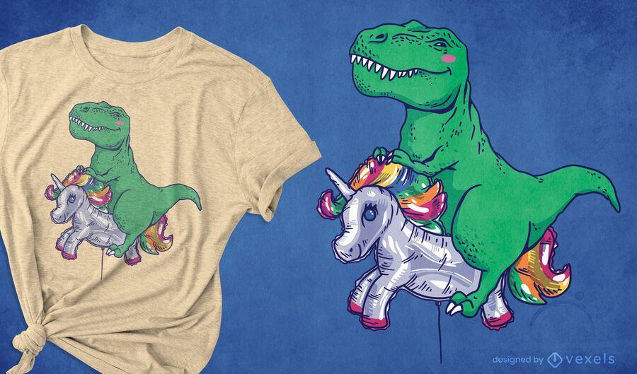 T-Rex Reitballon T-Shirt Design