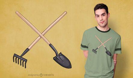 Design de camiseta de espadas e rake