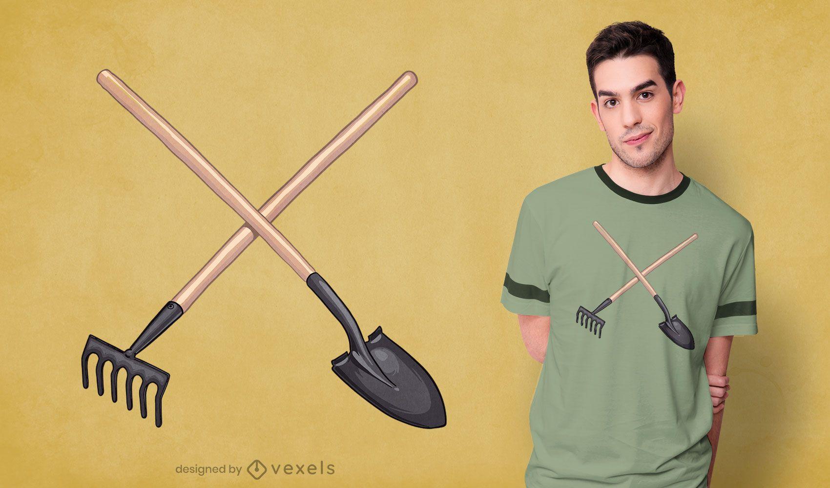 Diseño de camiseta de pala y rastrillo.