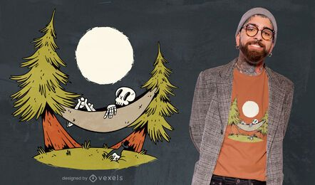 Desenho de t-shirt com rede de esqueleto