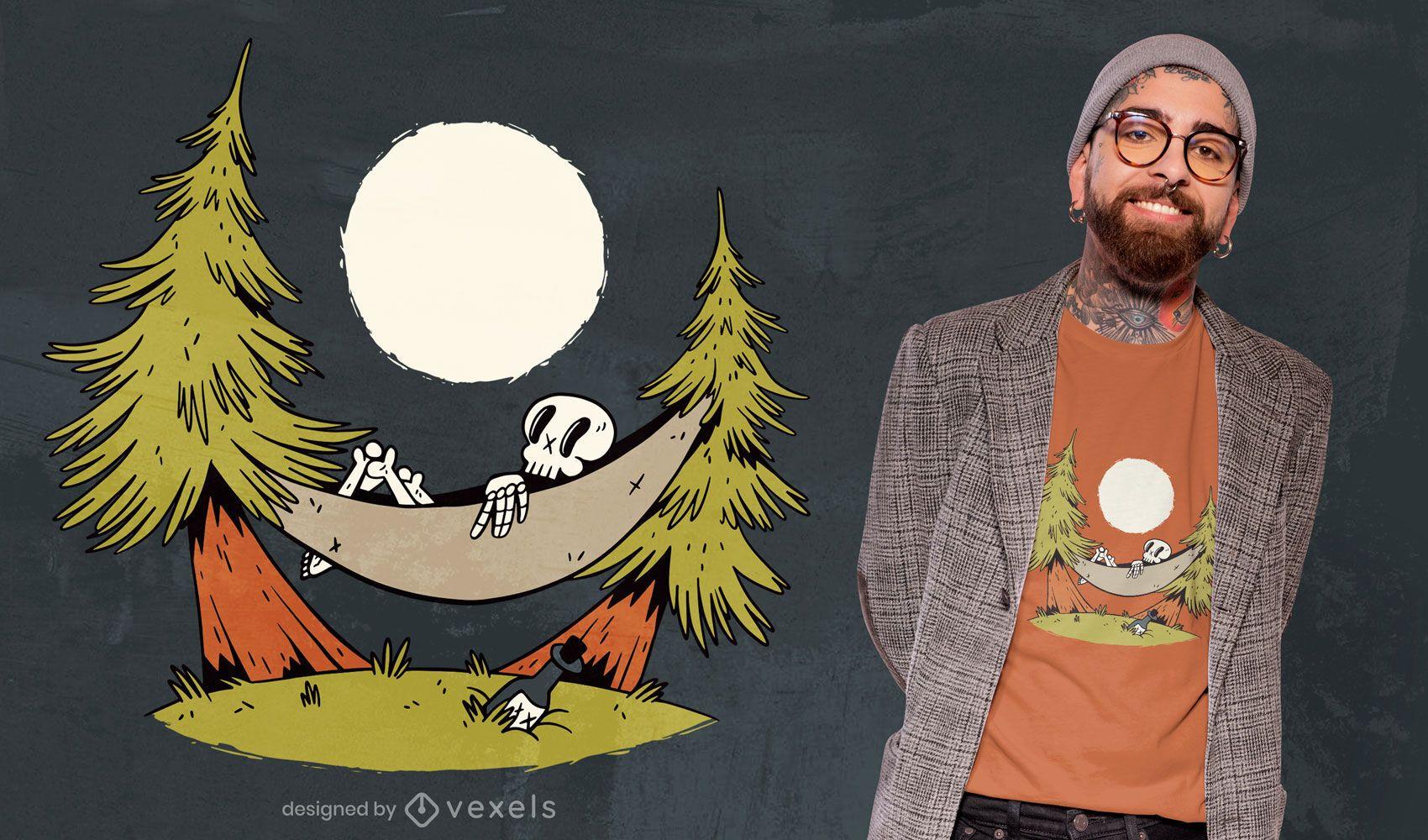 Skeleton hammock t-shirt design