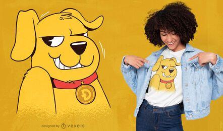 Diseño de camiseta de perro Dogecoin