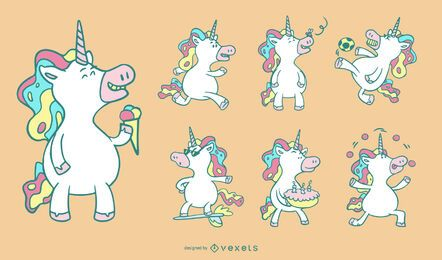 Conjunto de unicórnios de desenho animado