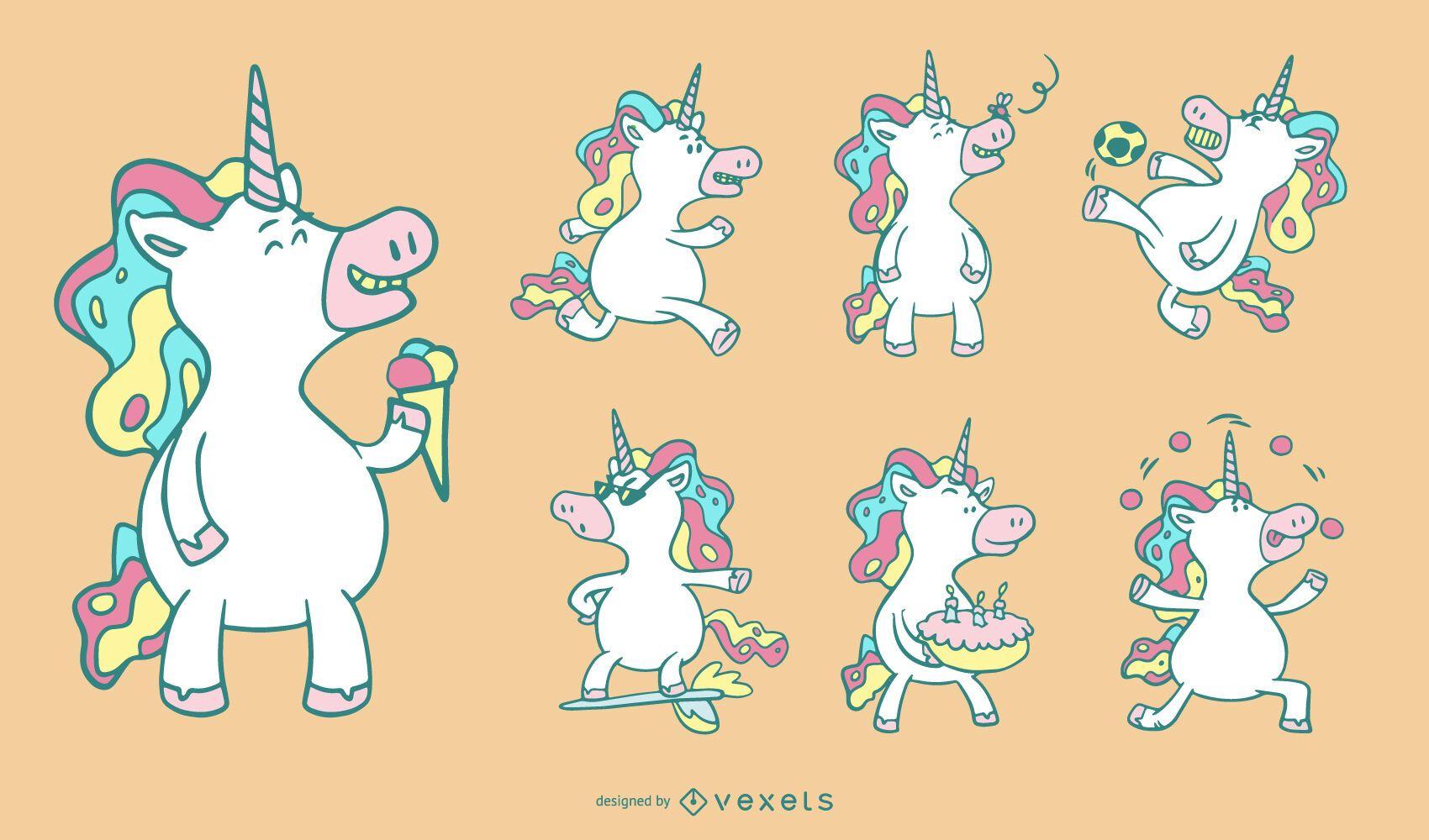Conjunto de unicornios de dibujos animados