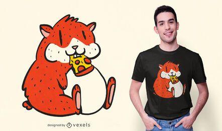 Diseño de camiseta de hámster comiendo pizza
