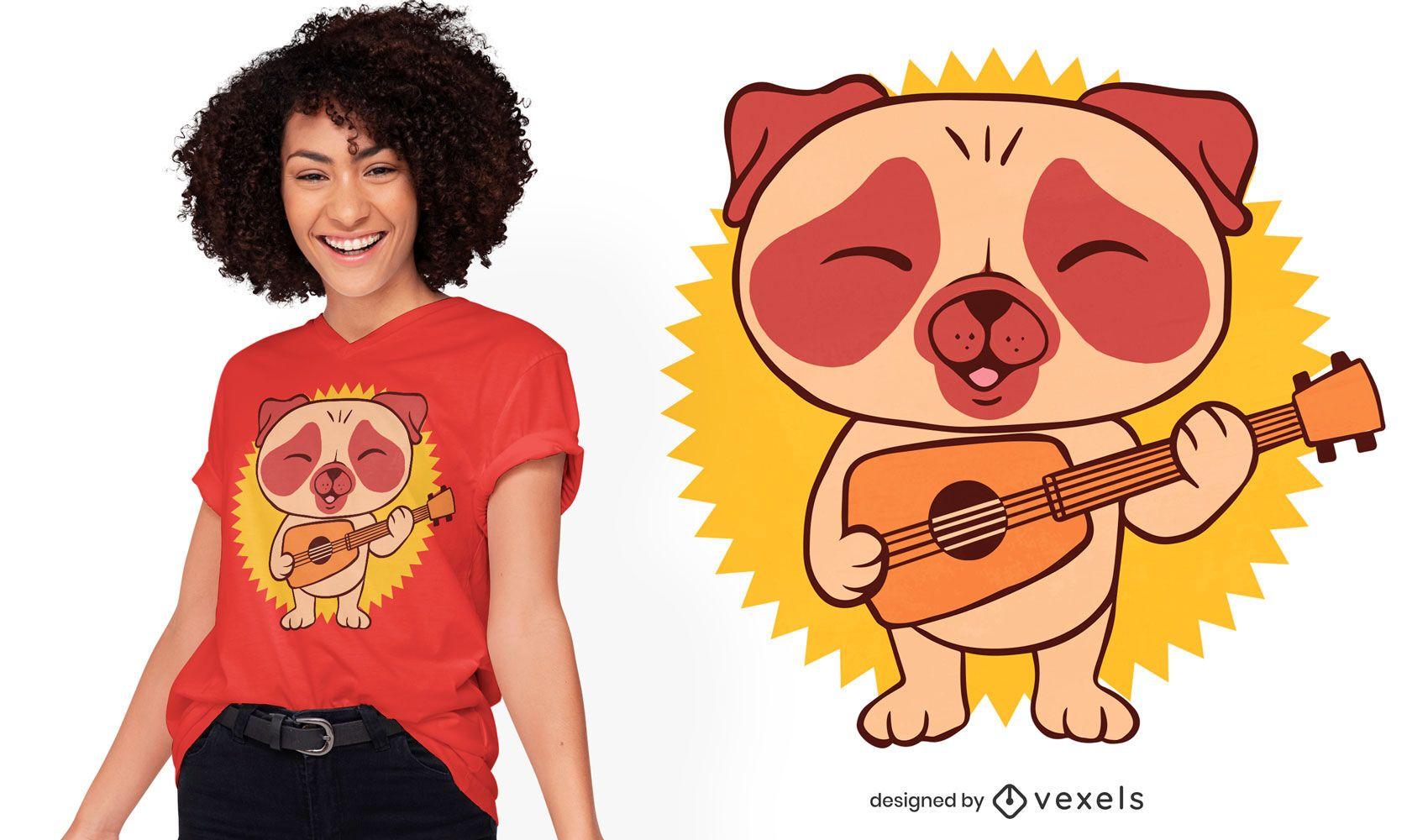 Design de camiseta para guitarrista Pug