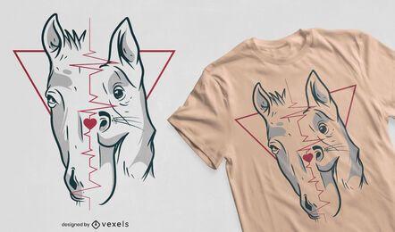 Diseño de camiseta de perro y caballo.