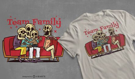 Team family skeletons t-shirt design