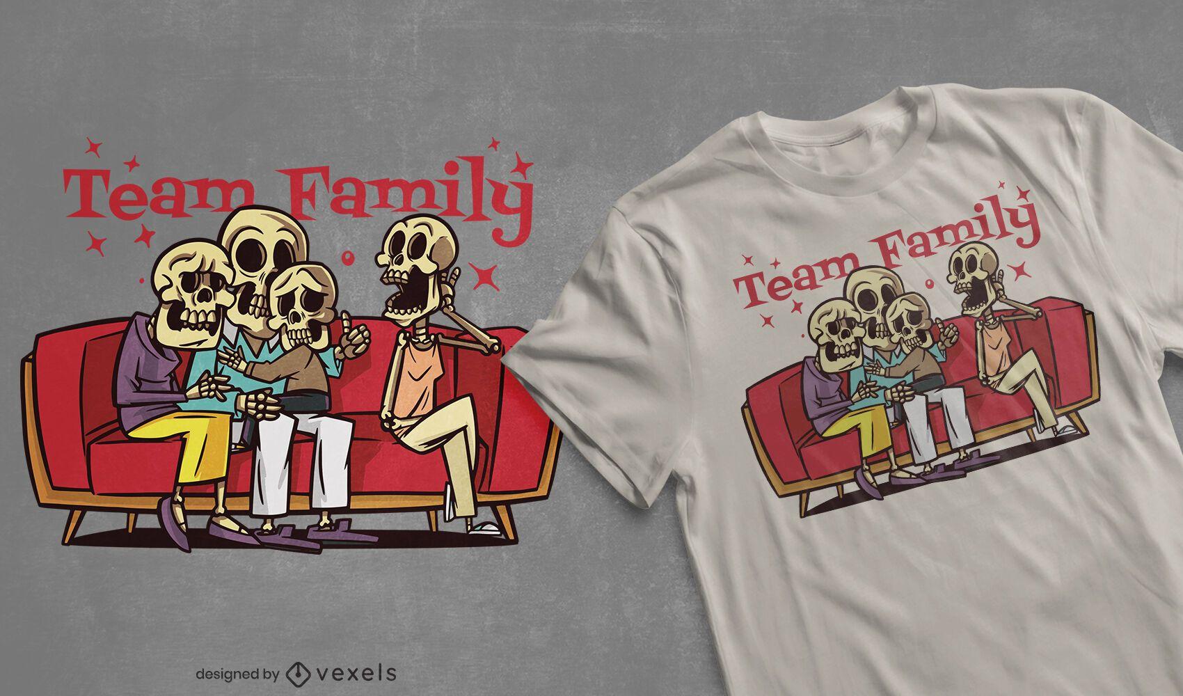 Design de t-shirt de esqueletos família equipe