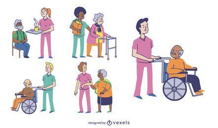 Conjunto de personas de enfermeras geriátricas