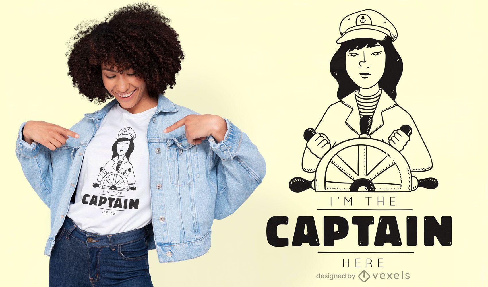 Dise?o de camiseta de capit?n de barco.