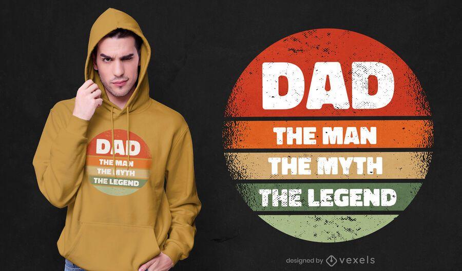 Diseño de camiseta papá el hombre