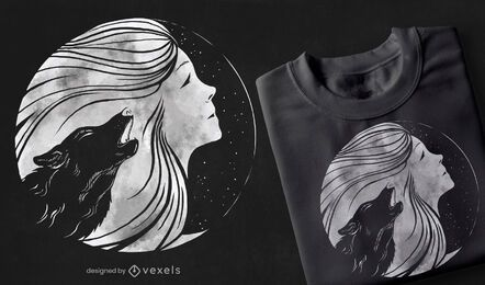 Mond Frau T-Shirt Design
