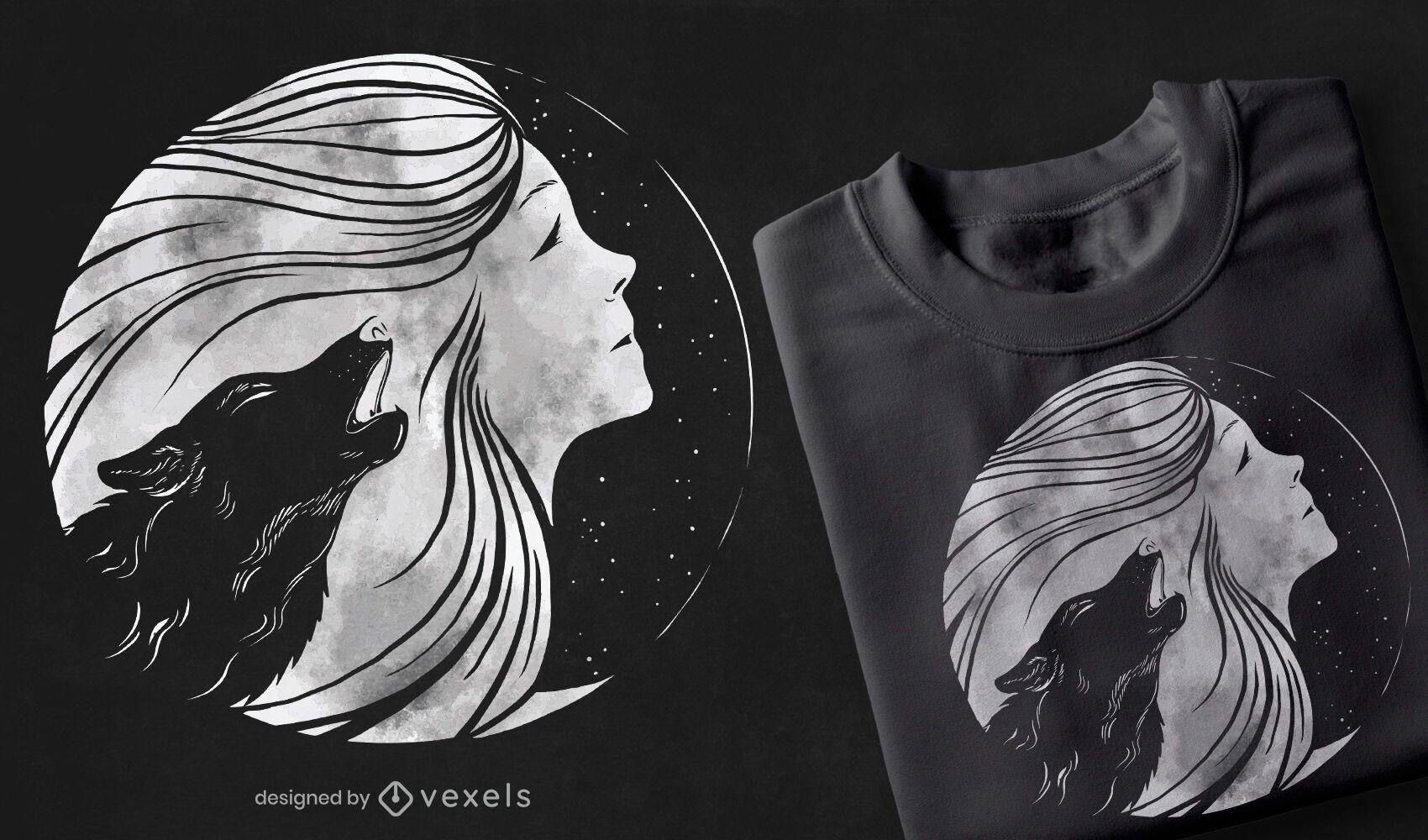Diseño de camiseta de mujer luna