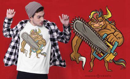 Diseño de camiseta Bull Chainsaw