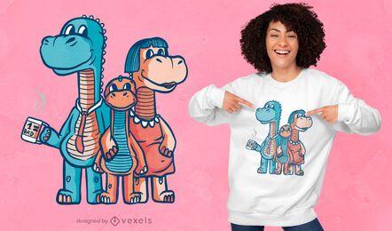Lindo diseño de camiseta de familia de dinosaurios.