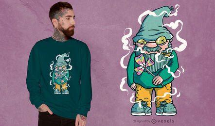 Design de camiseta hippie gnomo