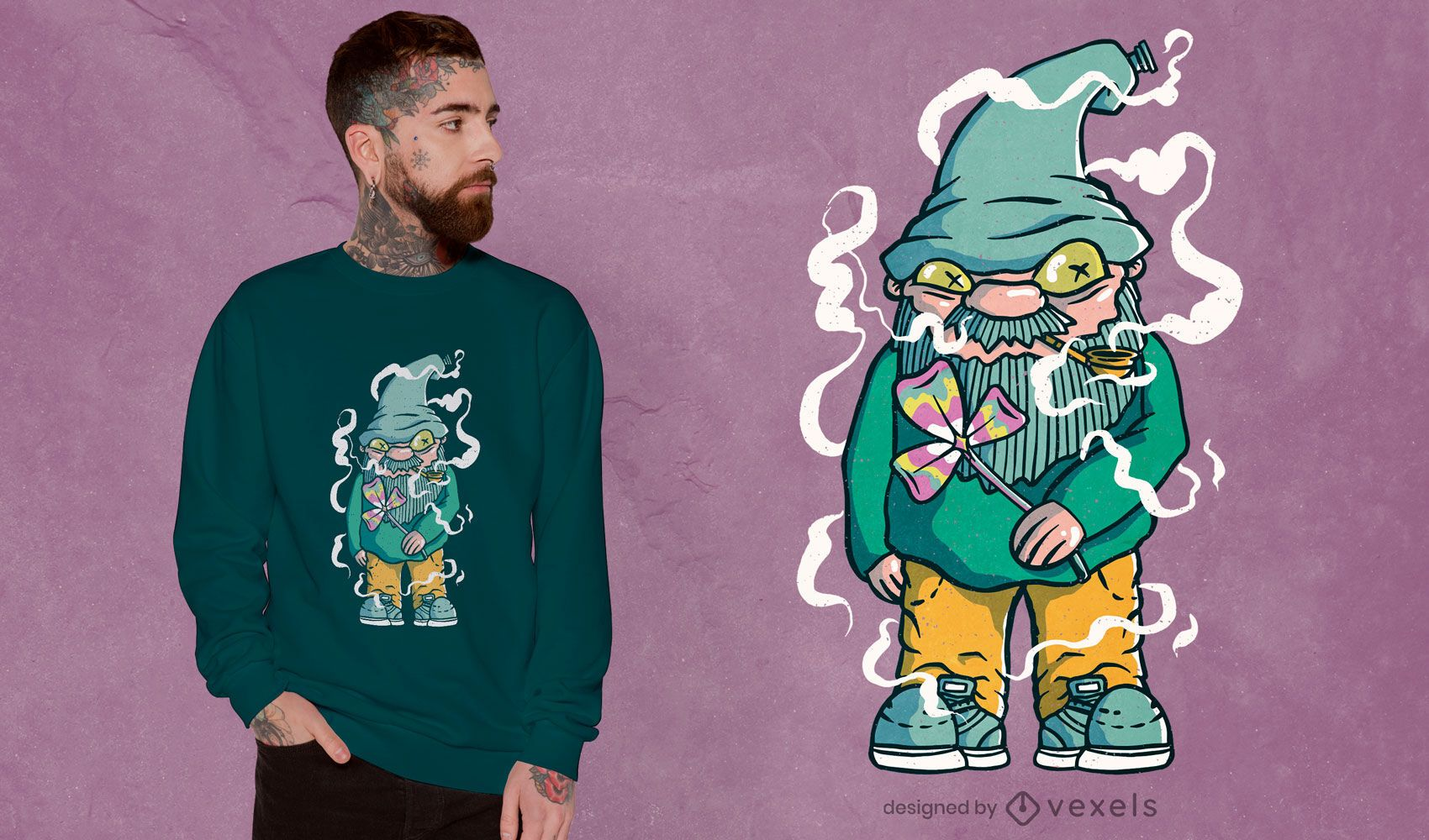 Diseño de camiseta hippie gnome
