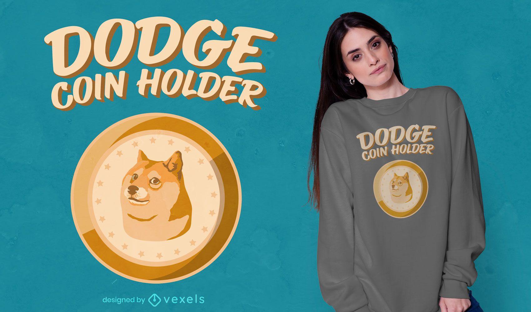 Diseño de camiseta con porta monedas Dodgecoin
