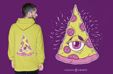 Diseño de camiseta de pizza Illuminati.