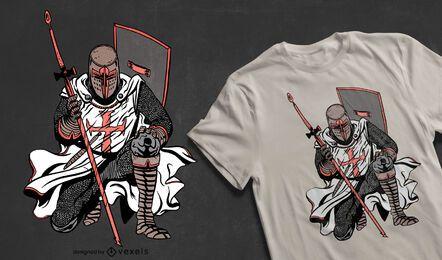 Design de camiseta do cavaleiro cruzado