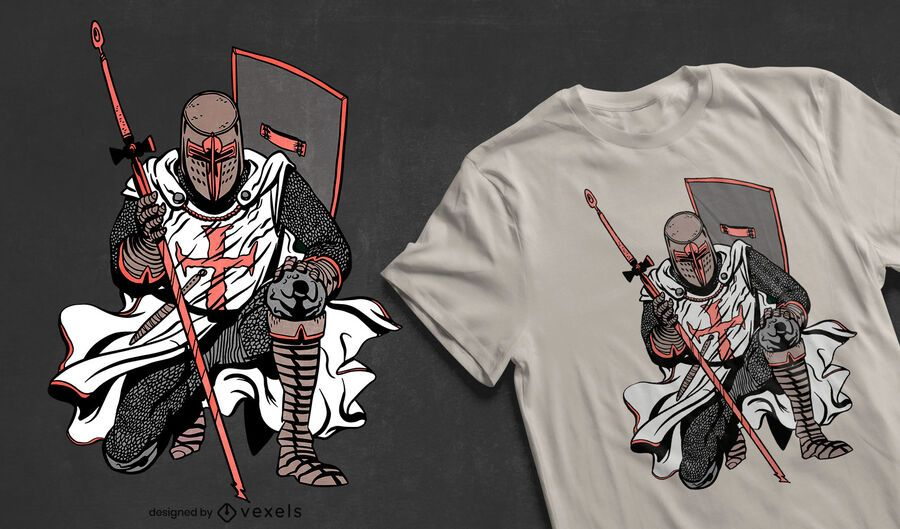 Crusader knight t-shirt design