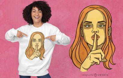 Frau, die T-Shirt Design zum Schweigen bringt