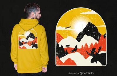 Diseño de camiseta de paisaje de naturaleza de montañas.