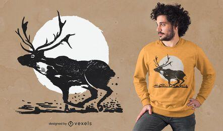 Diseño de camiseta de luna de reno