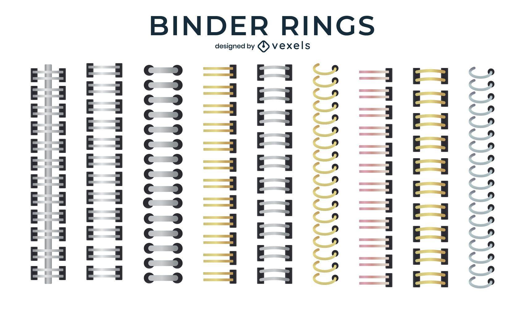 Conjunto de anéis de fichário