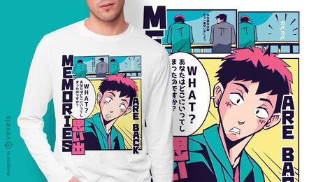 Diseño de camiseta Memories anime vaporwave