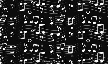 Desenho de padrão de notas musicais