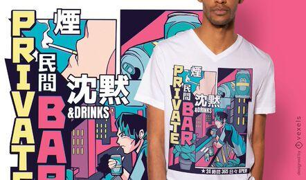 Design de camiseta em barra de anime vaporwave