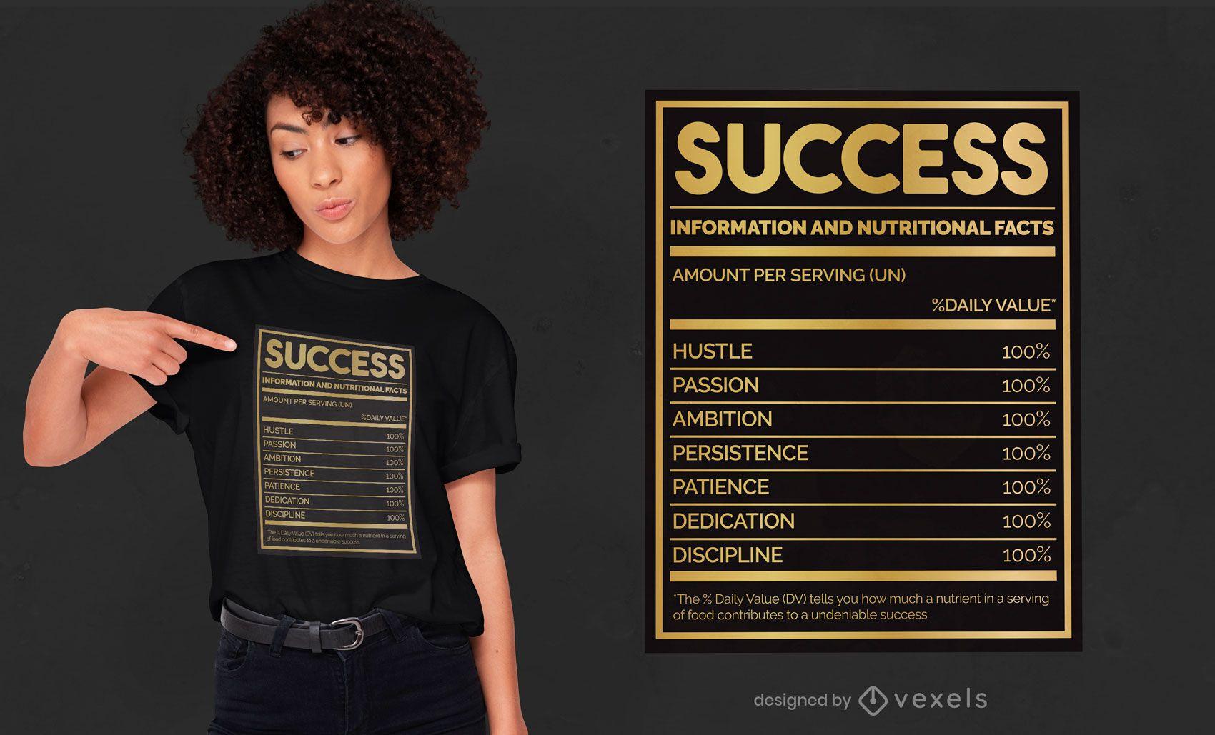 Diseño de camiseta de hechos nutricionales de éxito.