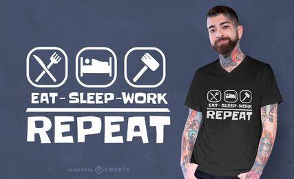 Essen Sie Schlafarbeit T-Shirt Design