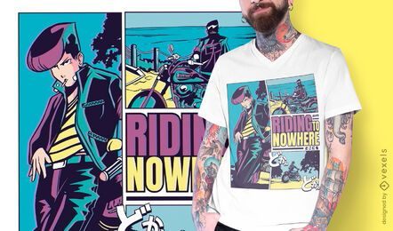 Diseño de camiseta de anime Riding Nowhere