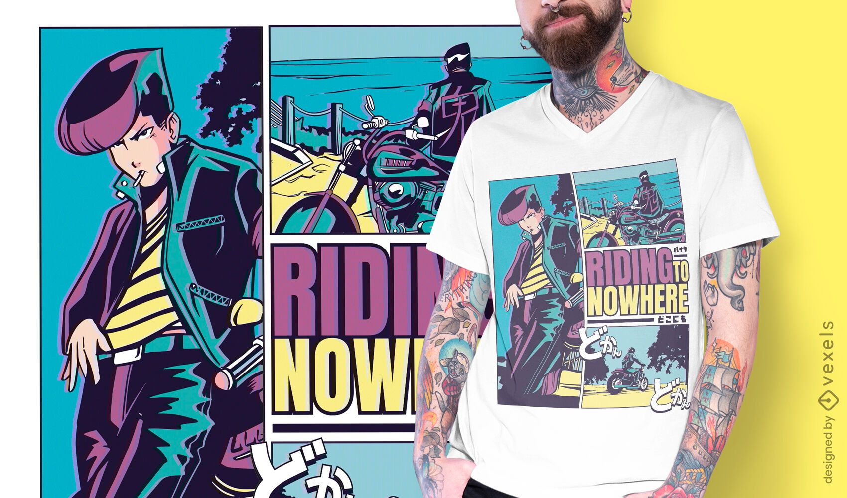 Diseño de camiseta de anime Riding Nowhere