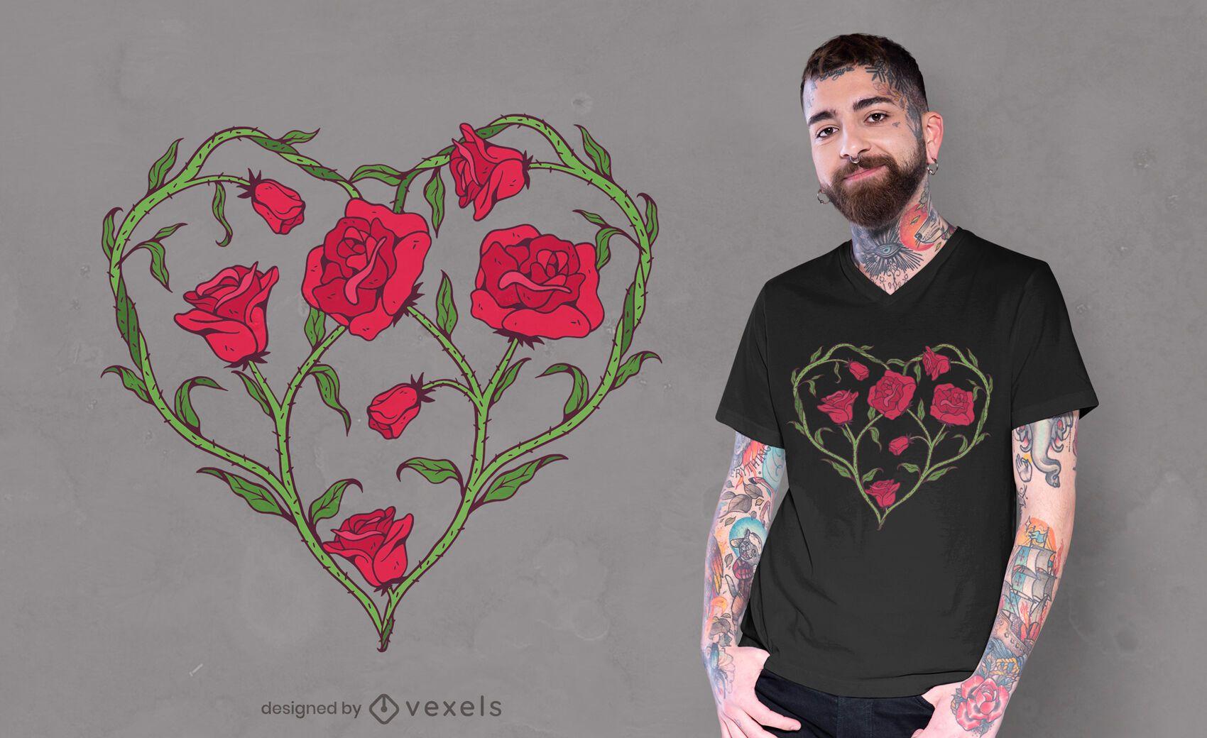Rose heart t-shirt design