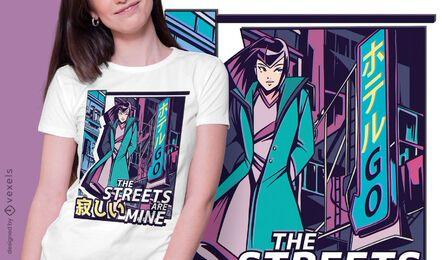 Diseño de camiseta anime girl vaporwave