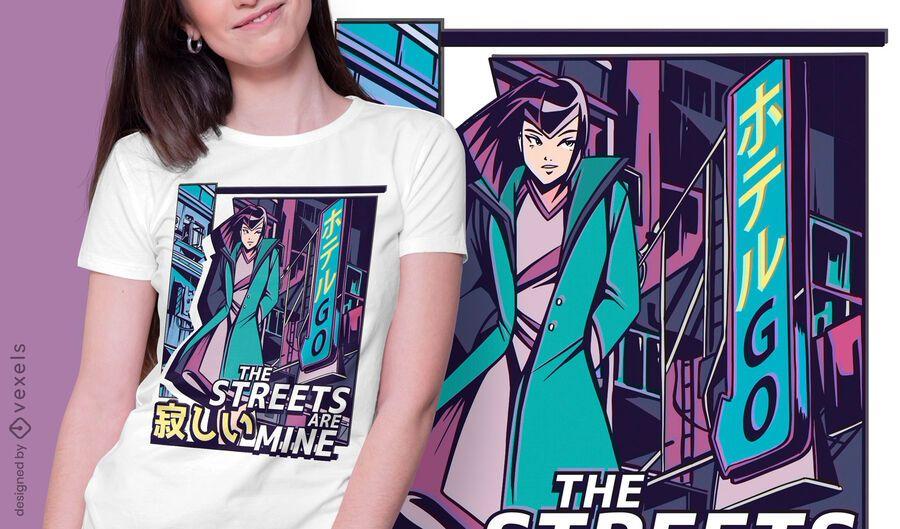 Anime girl vaporwave t-shirt design