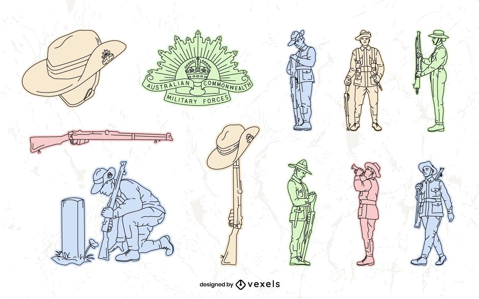 Conjunto dibujado a mano del día de Anzac